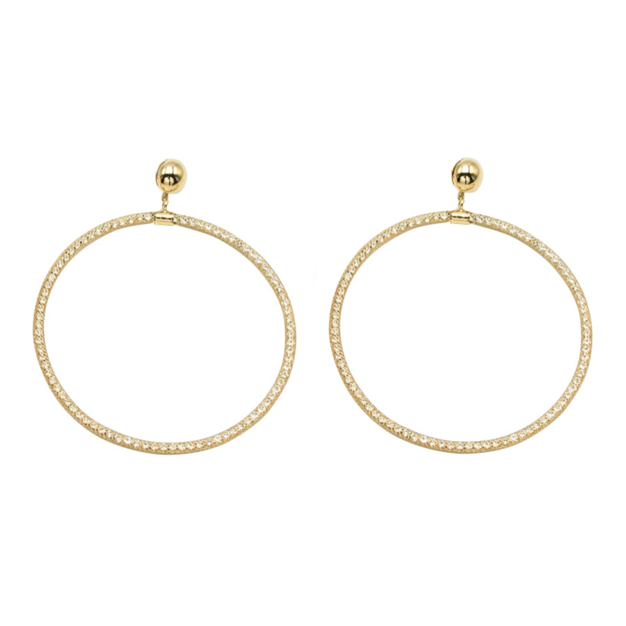 Lucent Gold Mesh Crystal Statement Stud Earrings - Circle