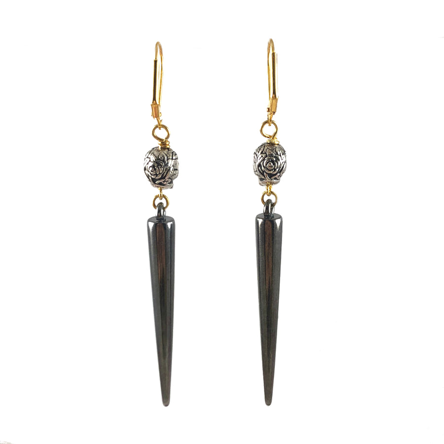 Silver Skulls & Gun Metal Spike Earrings Back
