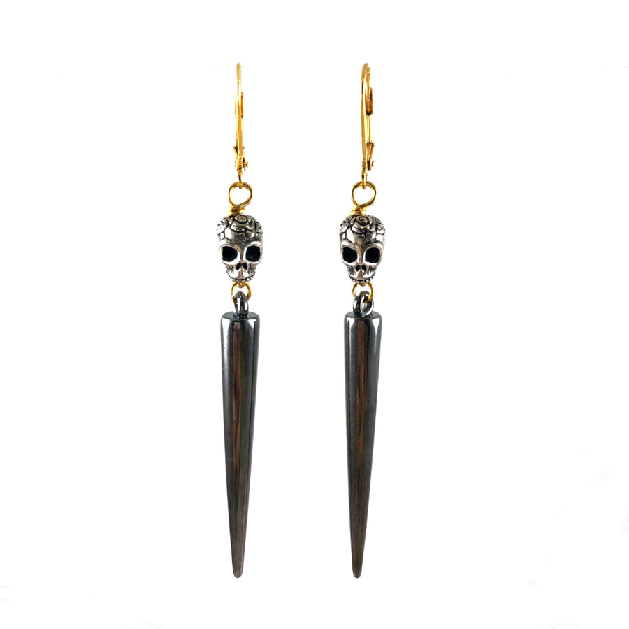 Silver Skulls & Gun Metal Spike Earrings Front