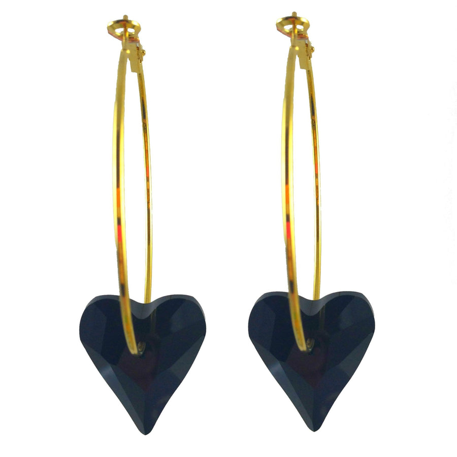MizDragonfly Jewelry Swarovski Crystal Heart Earrings Gallery Black