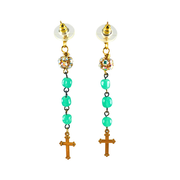 MizDragonfly Jewelry Turquoise Vintage Rosary Swarovski Cross Dangle Earrings Gallery