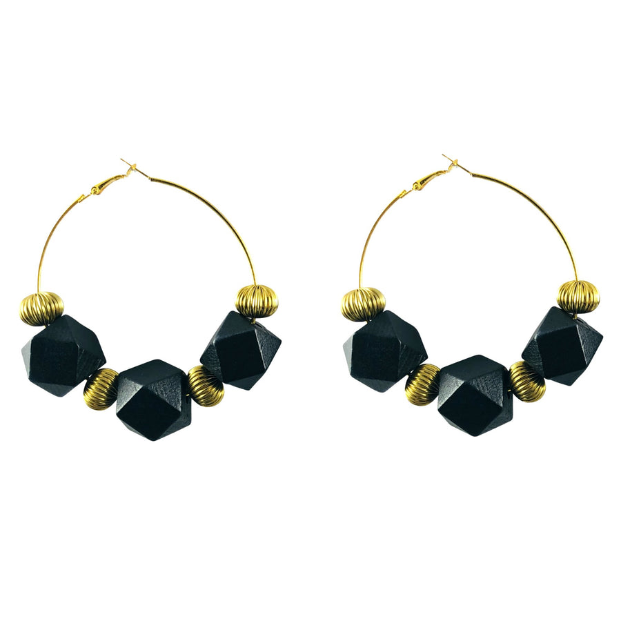 MizDragonfly Jewelry Vintage Black Geometric Cube Gold Hoops Earrings Gallery
