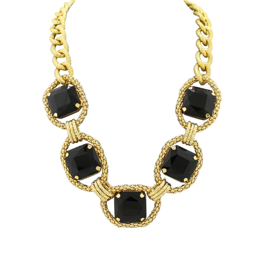 MizDragonfly Jewelry Vintage Carree Black Square Crystal Necklace Gallery