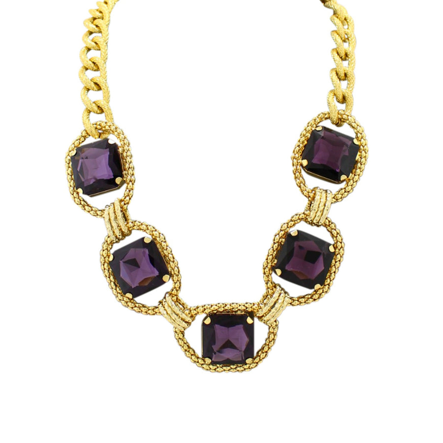 MizDragonfly Jewelry Vintage Carree Purple Square Crystal Necklace Gallery