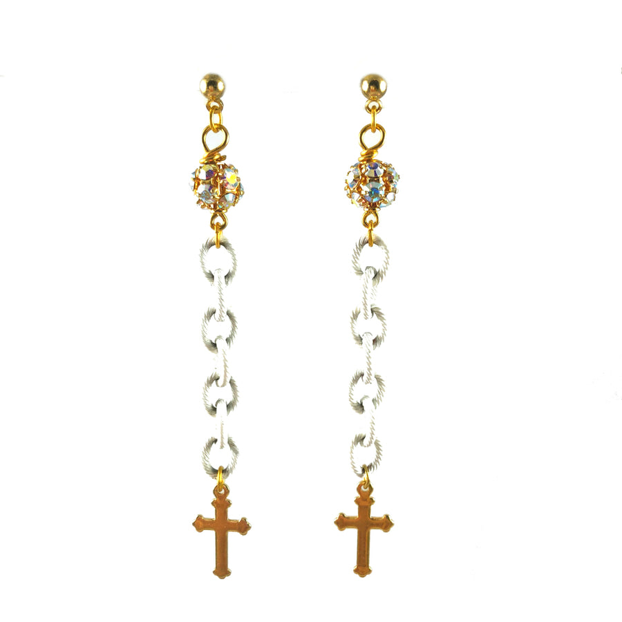 MizDragonfly Jewelry Vintage Clear Rosary Swarovski Cross Dangle Earrings Gallery