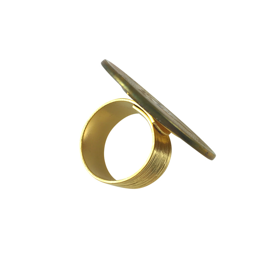 Korsair Vintage Zodiac Gold Coin Sign Adjustable Ring - Gemini