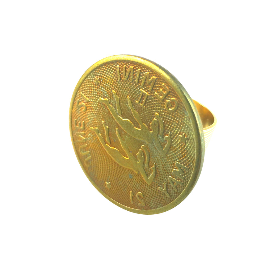 MizDragonfly Jewelry Vintage Gemini Coin Adjustable Gold Ring Angle