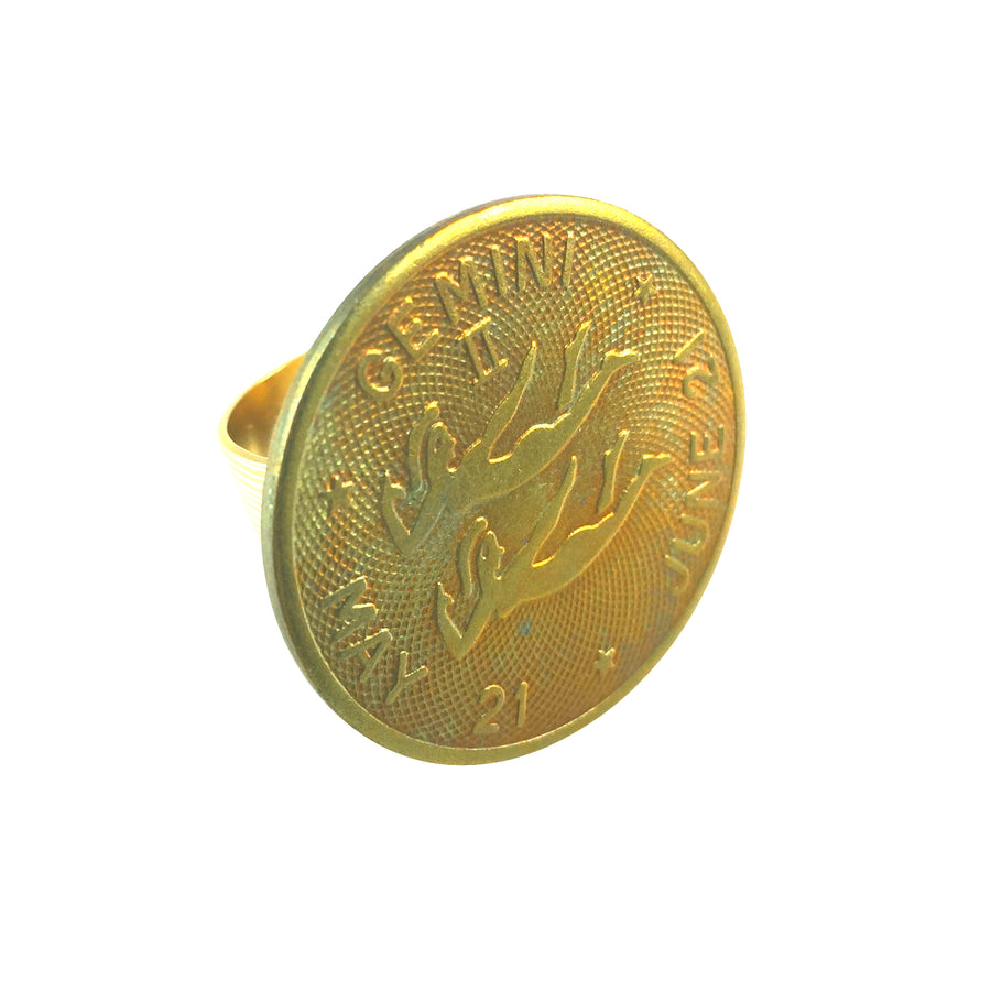 MizDragonfly Jewelry Vintage Gemini Coin Adjustable Gold Ring Gallery