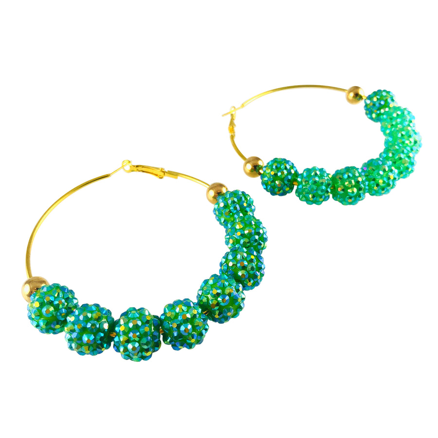 MizDragonfly-Jewelry-Vintage Green Swarovski Crystal Sparkling Gold Hoop Earrings