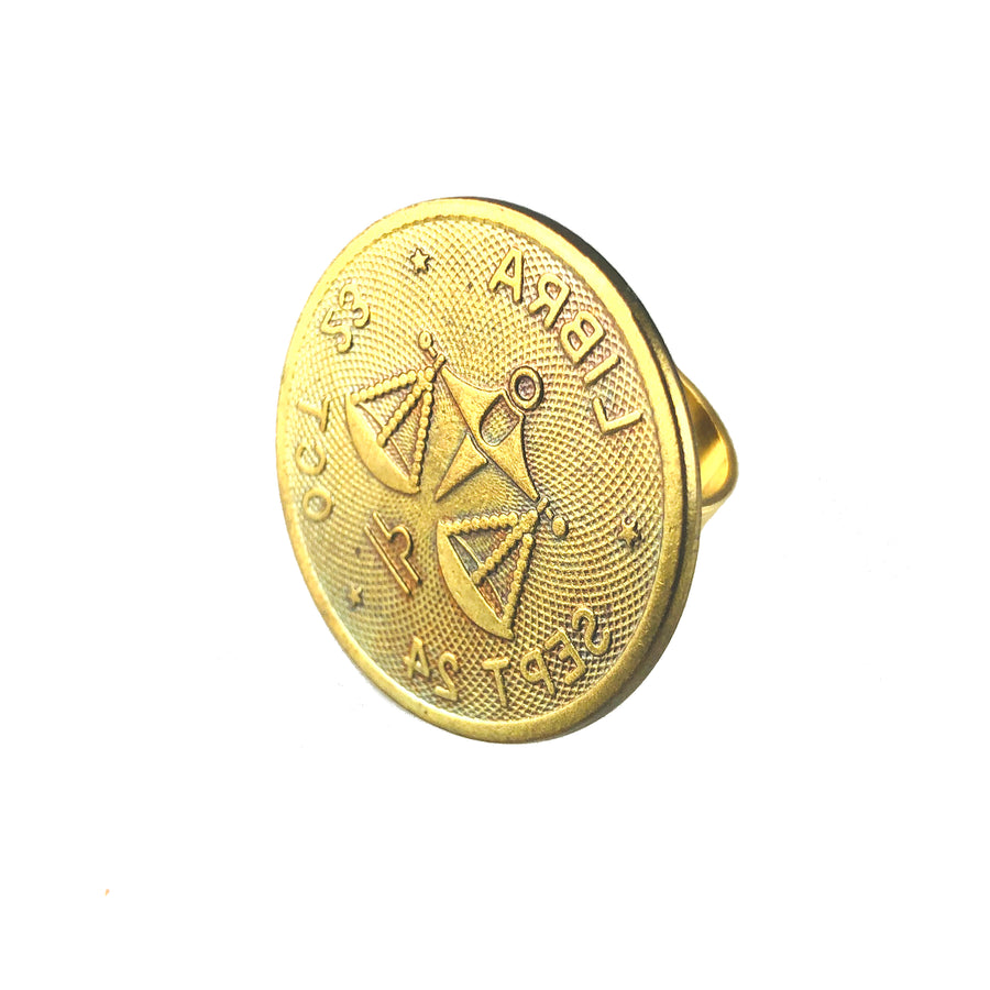 MizDragonfly Jewelry Vintage Libra Coin Adjustable Gold Ring Angle