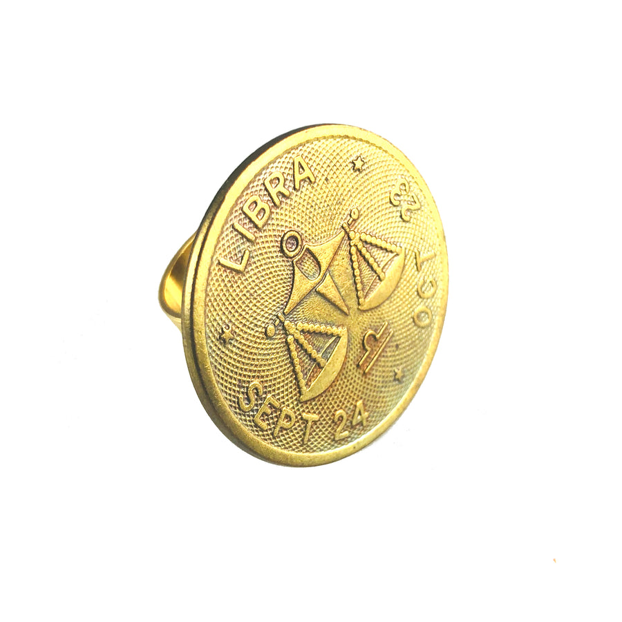 MizDragonfly Jewelry Vintage Libra Coin Adjustable Gold Ring Gallery