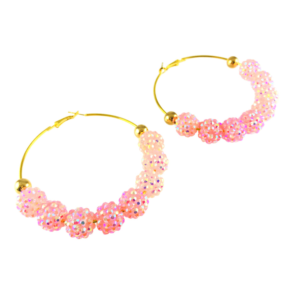 MizDragonfly Jewelry Vintage Pink Sparkling Swarovski Hoop Earrings
