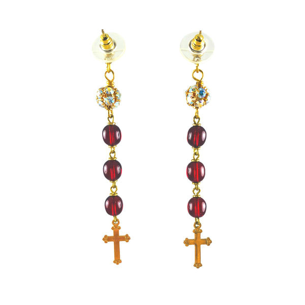 MizDragonfly Jewelry Vintage Red Rosary Swarovski Cross Dangle Earrings Gallery