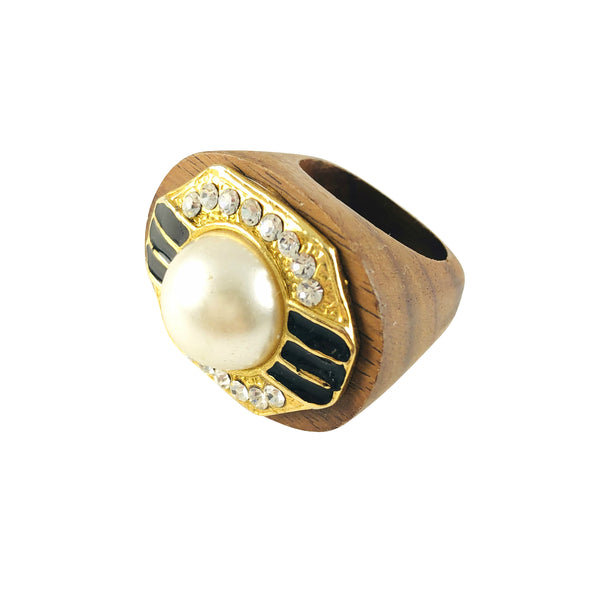 MizDragonfly Jewelry Vintage Strass Rhinestone Gold Pearl Wood Ring Gallery
