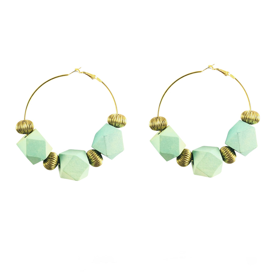 MizDragonfly Jewelry Vintage Turquoise Geometric Cube Gold Hoops Earrings Gallery