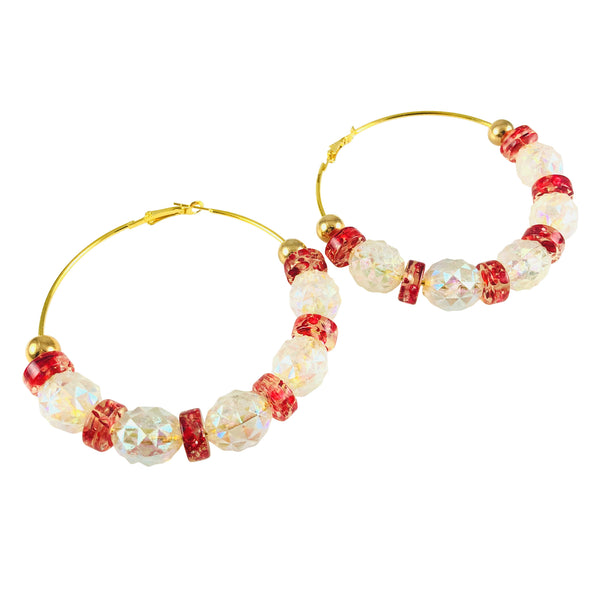 MizDragonfly Jewelry Vintage Verglas Geometric Red White Gold Hoop Earrings Gallery 2000x2000