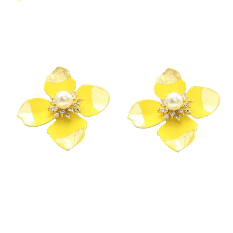 Cosmos Flower Pearl Rhinestone Gold Leaf Stud Earrings - Yellow