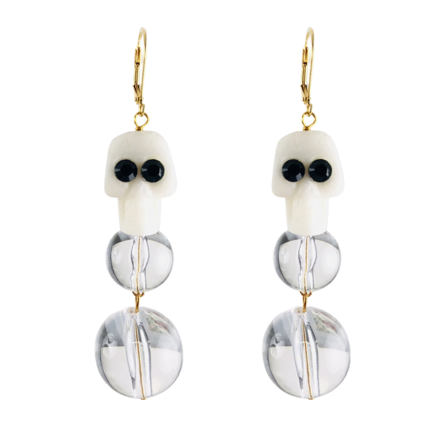 MizDragonfly White Onyx Skulls Earrings Black Eyes
