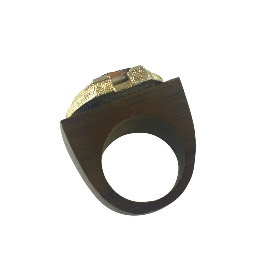 MizDragonfly jewelry empire gold vintange wood ring back