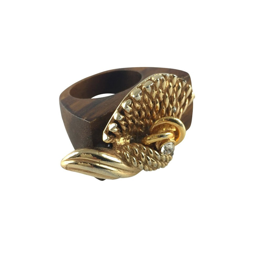 MizDragonfly vintage gold rose wood ring