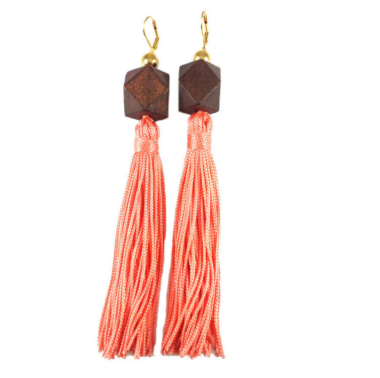 MizDragonfly Jewerly Gaga Coral Wood Silk Tassle Earrings Gallery