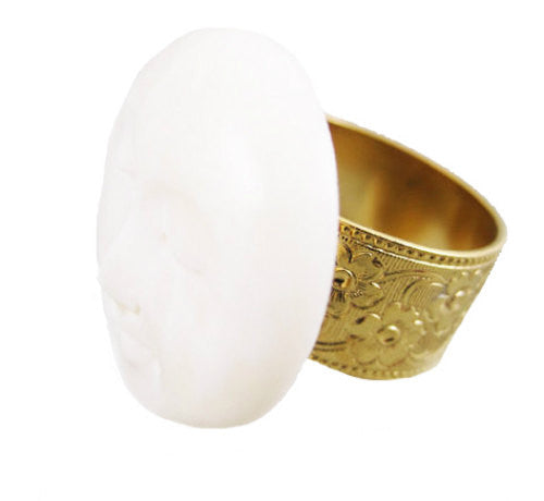 MizDragonfly Jewelry Vintage Bone Moon Gold Ring Angle
