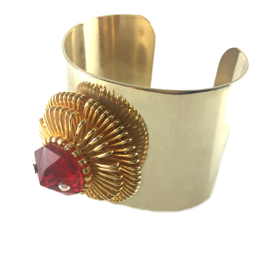 Trish Crystal Gold Cuff - As seen in BLOWE Magazine