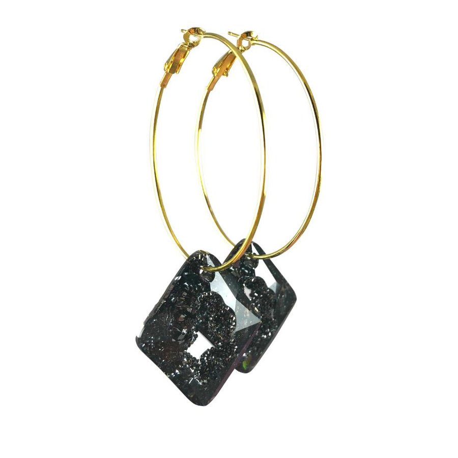 MizDragonfly Jewelry Iris Druzy Grey Crystal Gold Diamond Hoops Earrings Side
