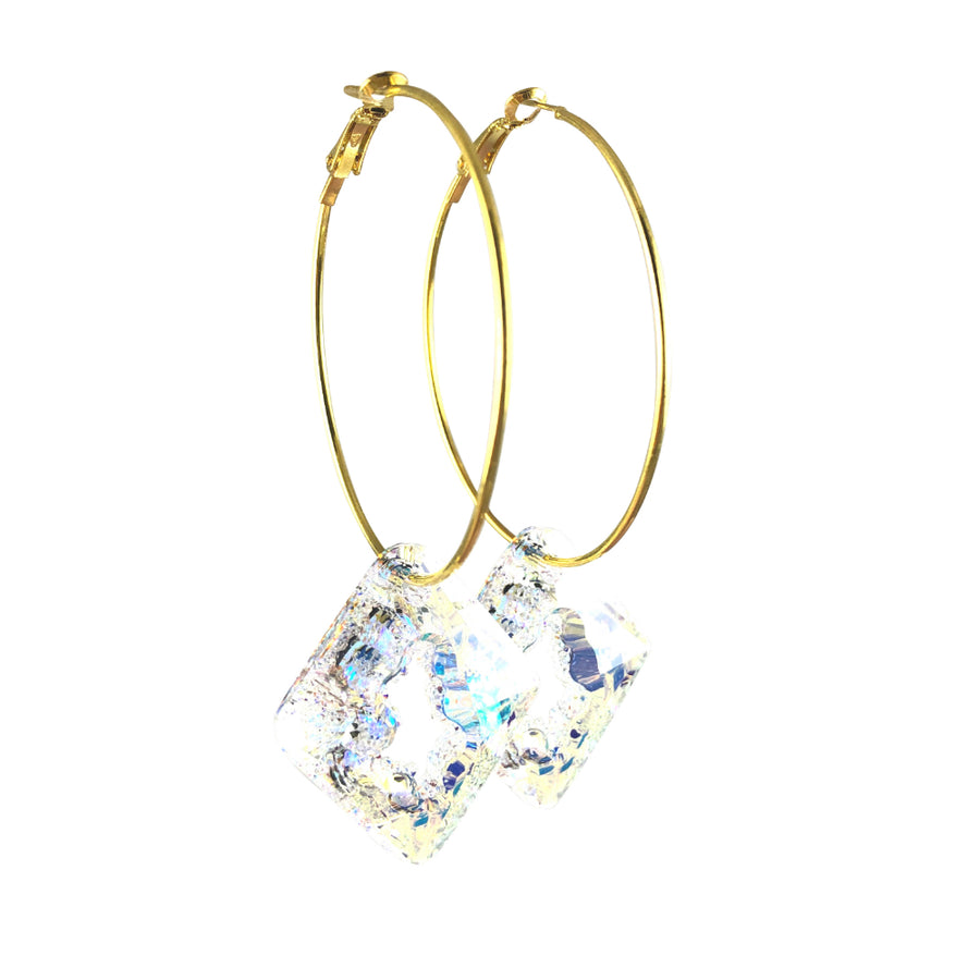 Iris Swarovski Crystal Gold Hoop Earrings Clear