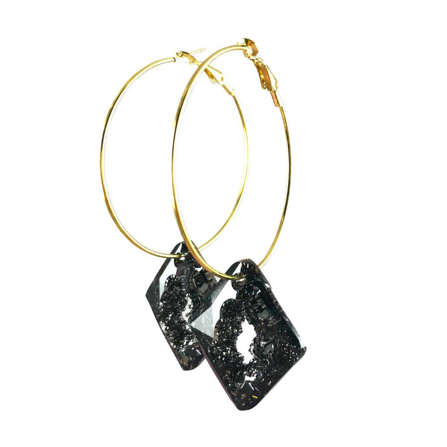 MizDragonfly Jewelry Iris Druzy Grey Crystal Gold Diamond Hoops Earrings Left