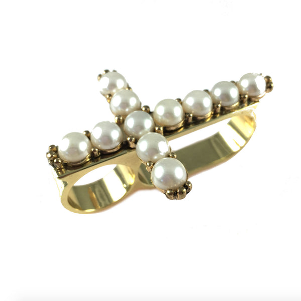 Cross Pearl Knuckle Ring in Dress To Kill