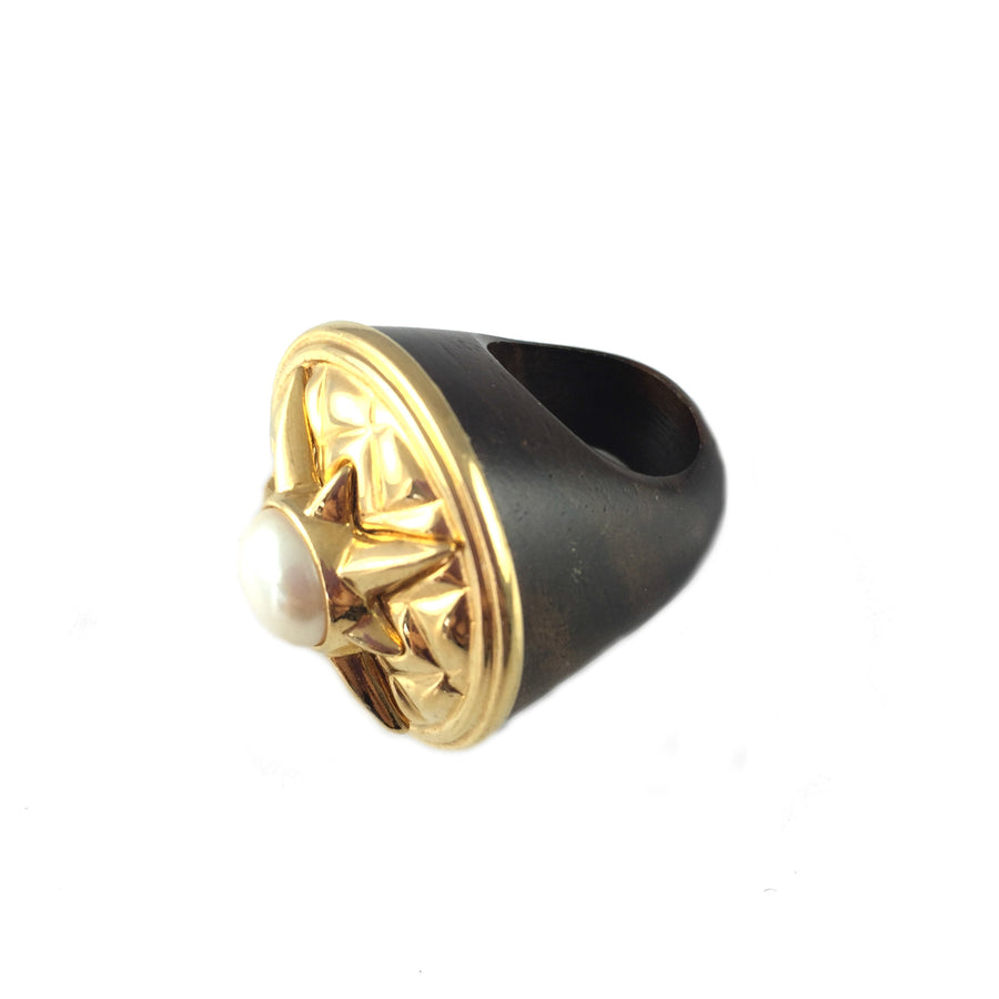 Roam Vintage Gold Wood Ring - As seen on Gail McInnes Owner of The Stylist Box