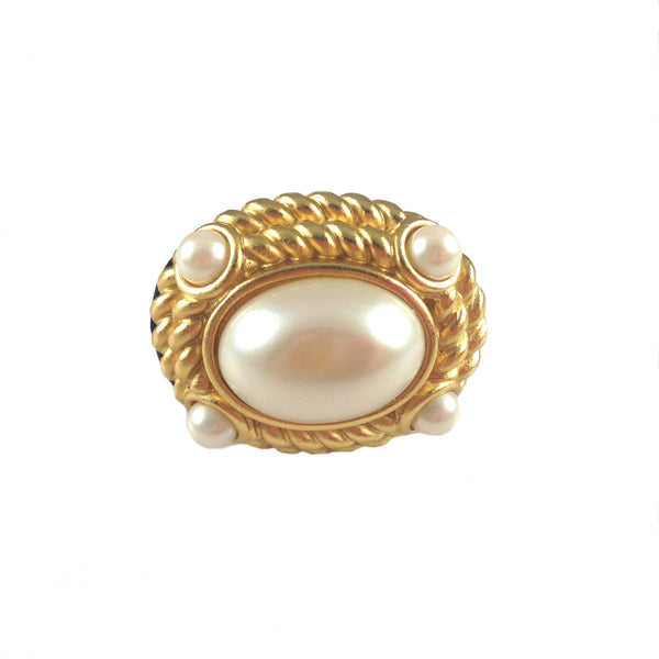 Paris Pearl Wood Ring - As seen in Tatalum Magazine