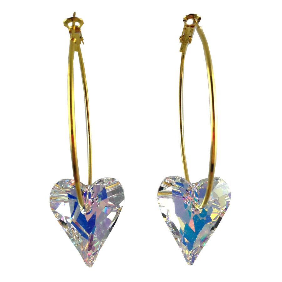 Swarovski Crystal Heart Earrings (White) - As seen in Tatalum Magazine