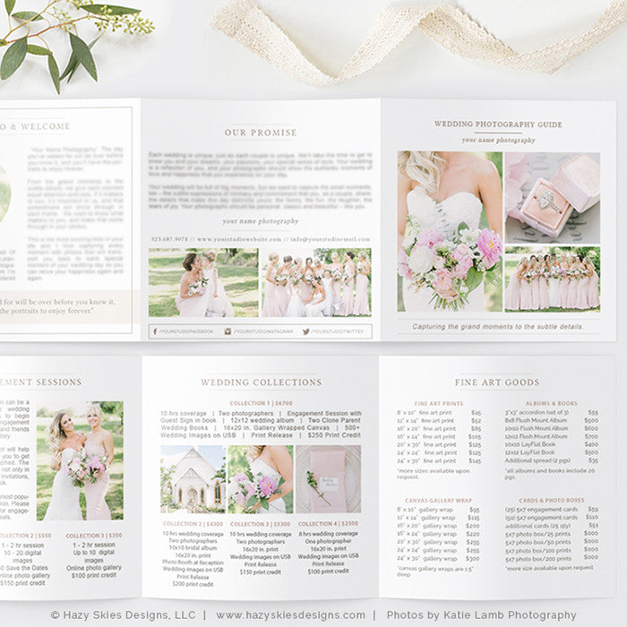 Wedding Photography Pricing Trifold | Organic ...