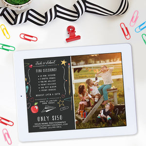 Back to School Mini Session Template | Chalkboard Doodles