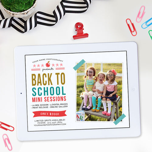 Back to School Mini Session Template | Back to School Minis