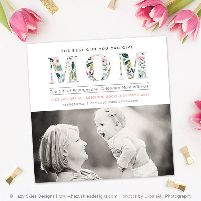 Mothers Day Sale Flyer Psd Template: Mother's Day Photography Marketing Template