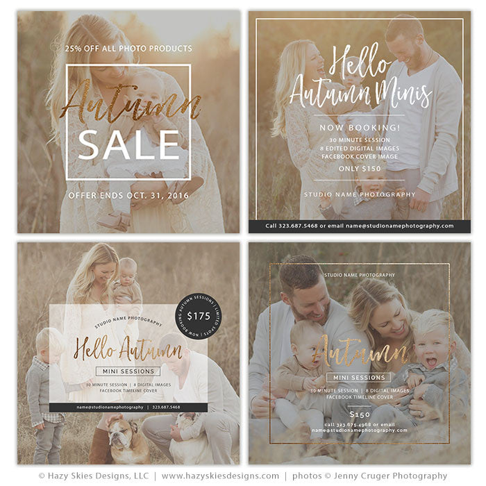Fall Photoshop Templates For Photographers Photography Photo Card