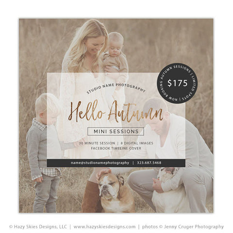 Fall Mini Session Template | Hello Autumn