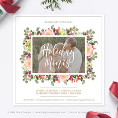 Holiday Mini Session Template | Holiday Minis Floral