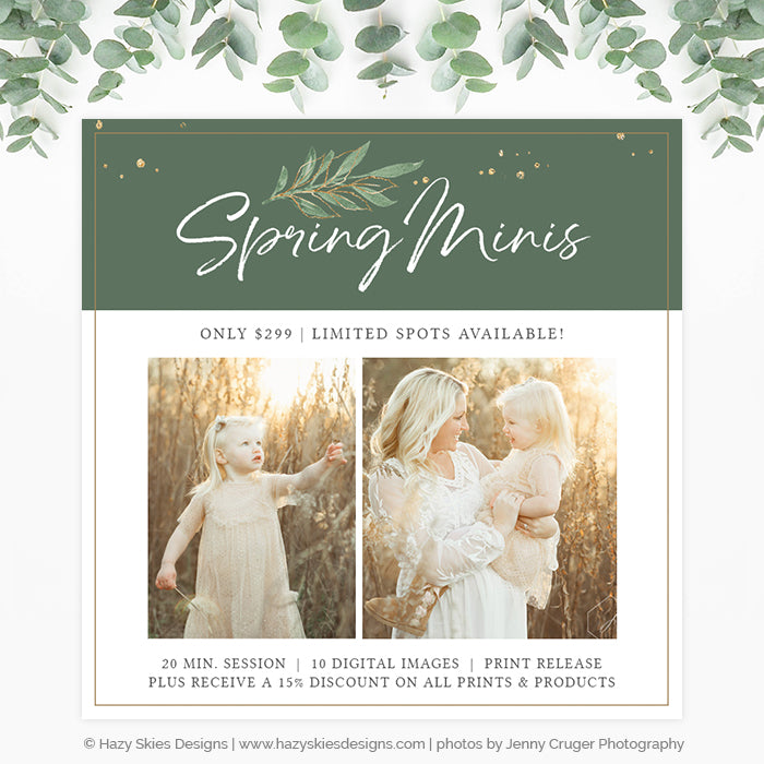 Spring Mini Session Photoshop Template | Botanical