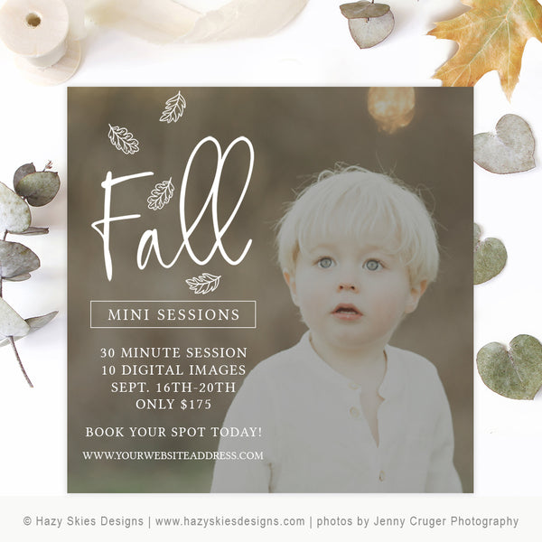 Fall Mini Session Template | Fall Leaves