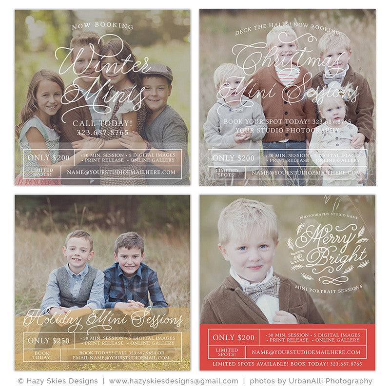 Christmas Mini Session Templates Photography Marketing – Photoshop ...