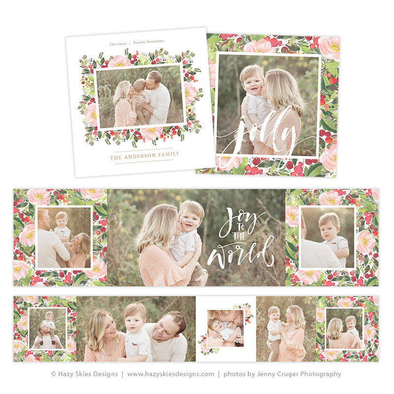 Accordion Mini Book Template | Christmas Floral