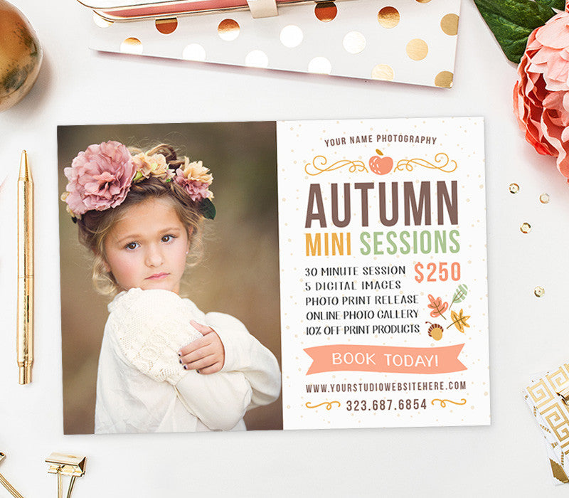 Fall Photography Marketing Board Autumn Mini Session Photography Marketing INSTANT DOWNLOAD 5x7 Mini Sessions PSD Newsletter Template