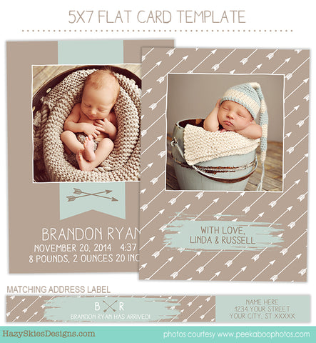 Birth Announcement Template | Banner and Arrow