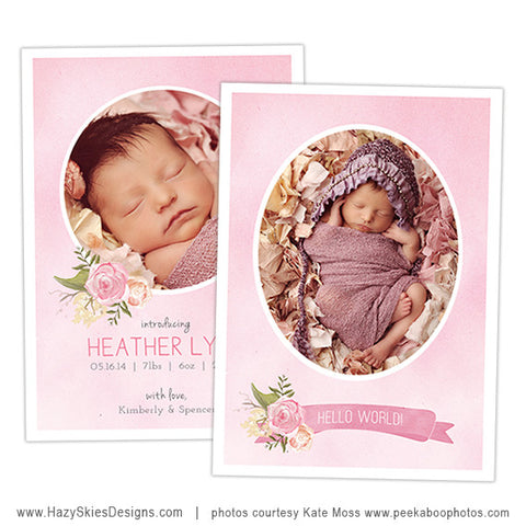 Birth Announcement Template | Pink Peony