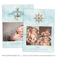 Birth Announcement Template | Blue Nautical Boy