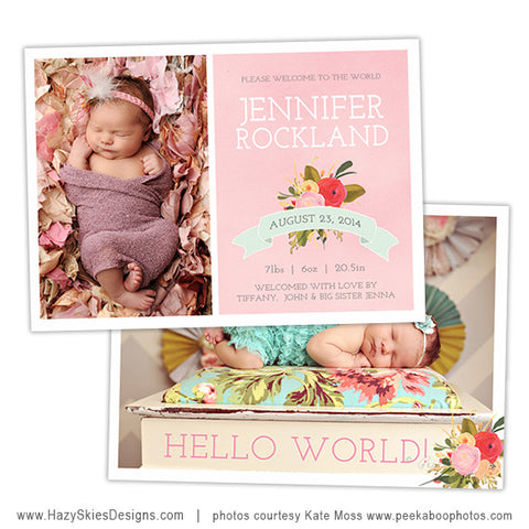 Birth Announcement Template | Country Roses